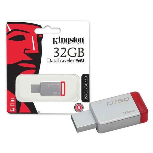 Pen Drive 32gb Usb 3.1 Kingston Dt50/32gb Datatraveler 50 Metal Vermelho