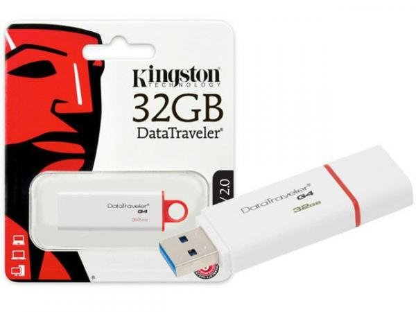 Pen Drive 32gb DTIG4/32GB USB 3.0 Datatraveler Generation 4 Branco/Vermelho Kingston