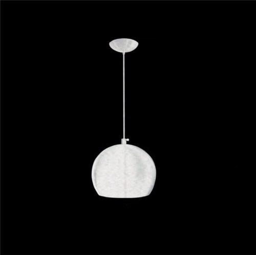 Pendente Caisma Redondo Metal Branco 1 Lâmpada Bivolt