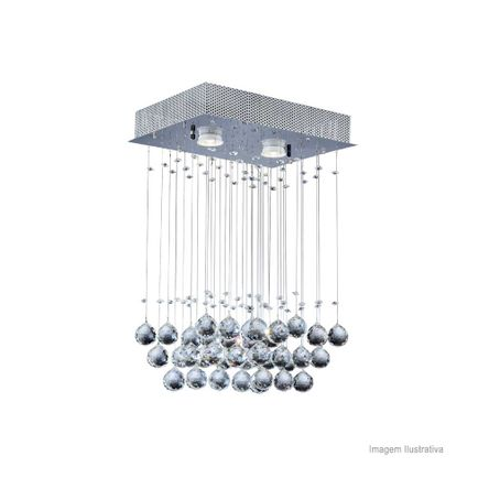 Pendente Cristal Ball Retangular para 2 Lâmpadas GU10 Bronzearte