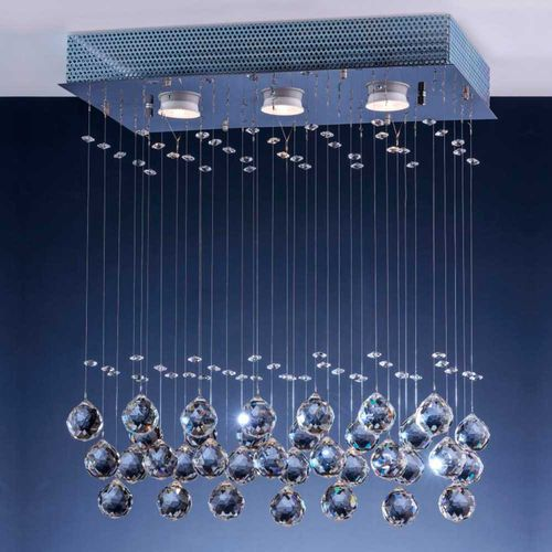 Pendente Cristal Ball Retangular para 3 Lâmpadas Gu10 Bronzearte