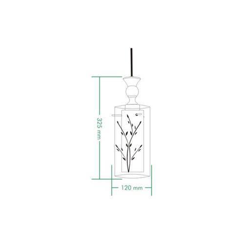 Pendente em Vidro para 1 Lâmpada 32,5x12cm Branco e Transparente