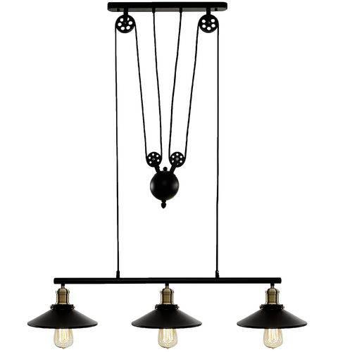Pendente Industrial Metal Preto - 3 Lampadas Bivolt