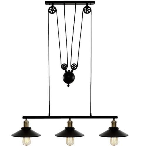 Pendente Industrial Preto - 3 Lampadas