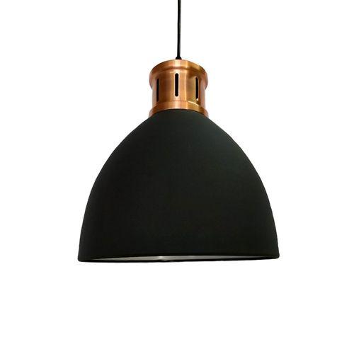Pendente Metal Preto/Cobre 1e27 30cm Qpd1161-Pt