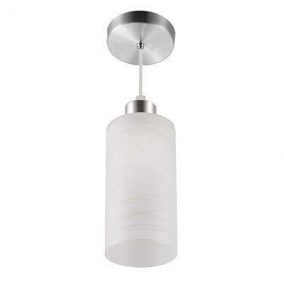 Pendente Vidro Branco Detalhe Risco C/base Alumínio Escovado Blumenau