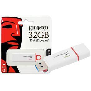 Pendrive Kingston 32GB USB Datatraveler DTIG4/32GB Branco C/ Vermelho