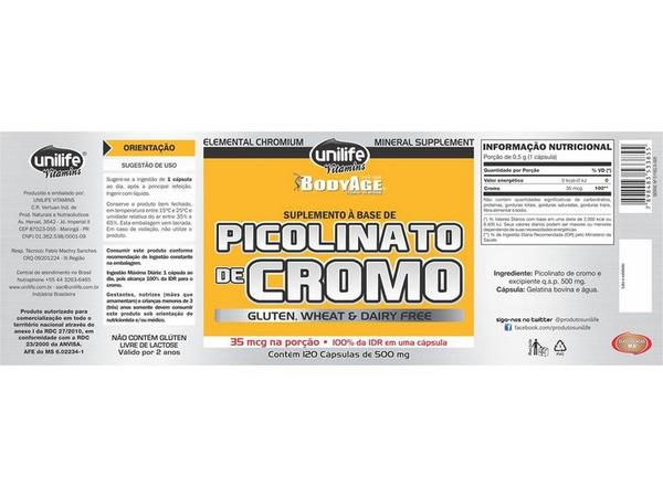 Picolinato de Cromo 120 Cápsulas Unilife