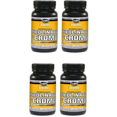 Picolinato de Cromo - 4 Un de 120 Cápsulas - Unilife