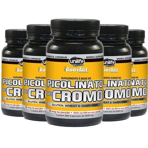 Picolinato de Cromo - 5 Un de 120 Cápsulas - Unilife