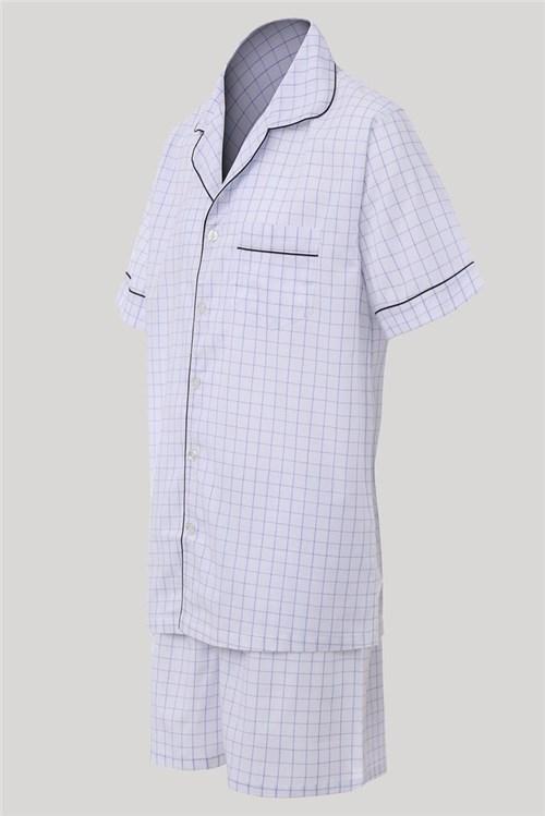 Pijama Tradicional Curto Xadrez Argile (Curto, P, Azul)
