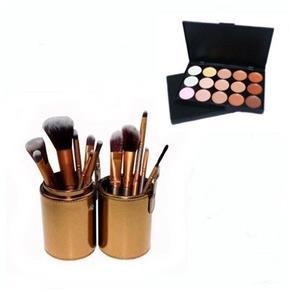 Pincel Maquiagem Profissional Kit C/ 12 Dourado + Paleta Base e Corretivo