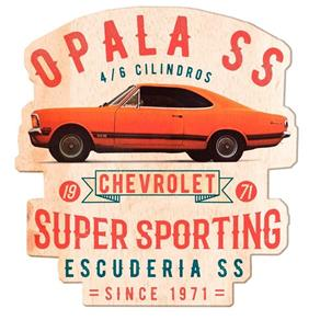 Placa Decorativa 31cm de Madeira Opala 1971 GM - H41479 - Laranja