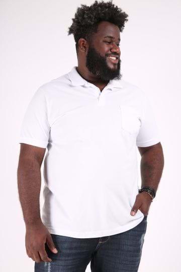 Camisa Polo Lisa com Bolso Plus Size Branco M