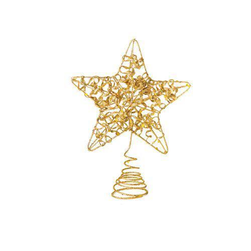 Tudo sobre 'Ponteira Estrela P/árvore de Natal 20x15cm Dourado'