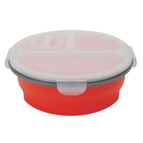 Porta Alimentos Mimo Style Retrátil com 3 Divisórias e Tampa em Silicone e Polipropileno – 900 Ml - Vermelho