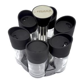 Porta Condimentos Prana com 7 Peças - Preto/Transparente