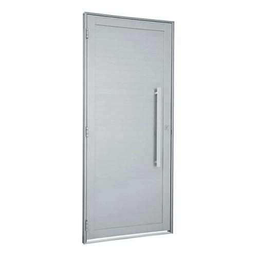 Tudo sobre 'Porta de Abrir com Lambri Horizontal e Puxador Alumínio Branco Alumifort Direita 216x98x5,4cm - 76262527 - Sasazaki - Sasazaki'