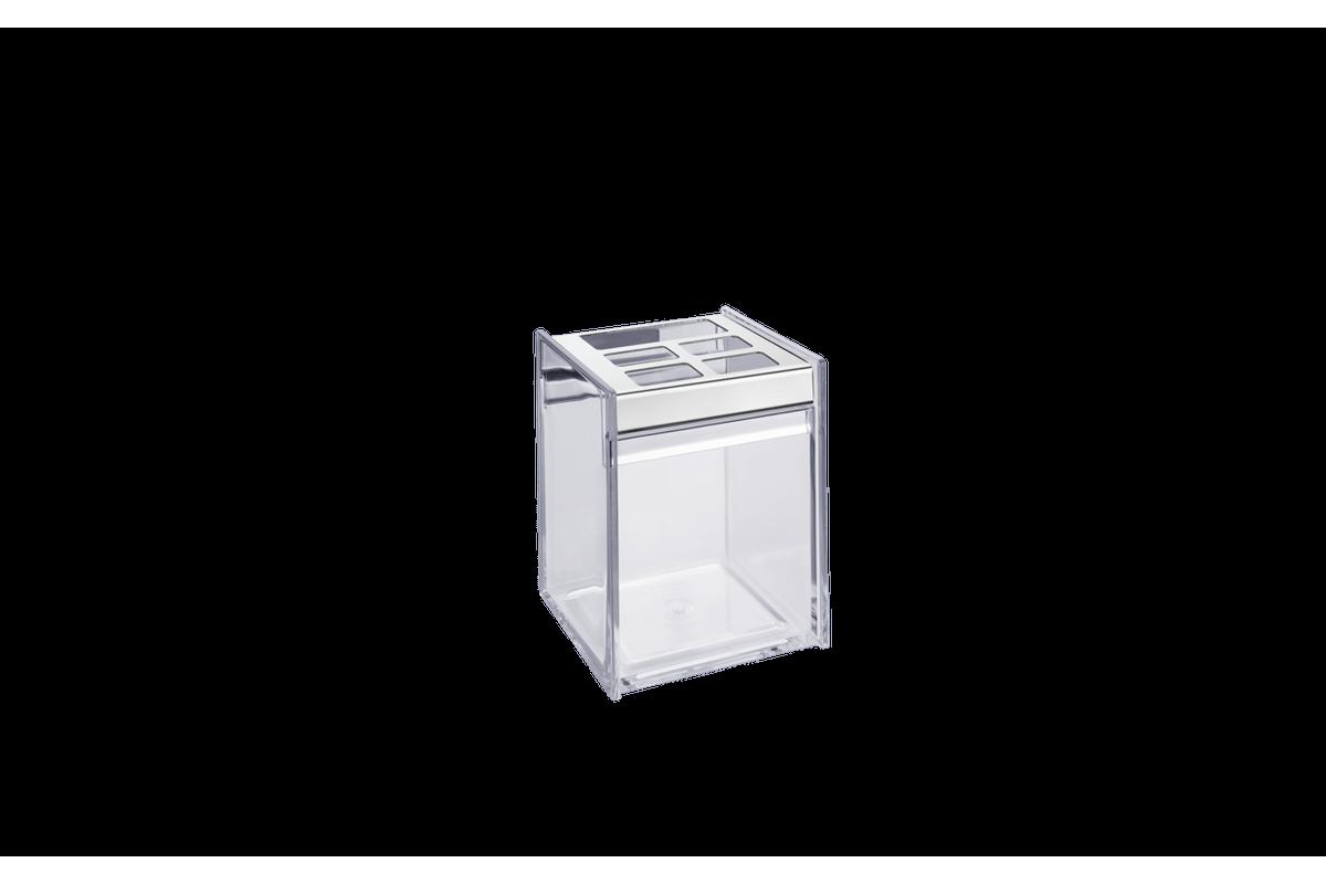 Porta Escova/Creme Dental - Quadrata 8 X 8 X 11,5 Cm Cristal Brinox