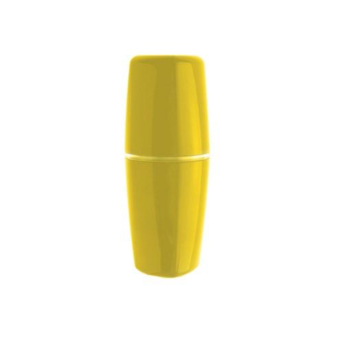 Porta Escova de Dente Amarelo em Plástico Tule Geo Collage OU