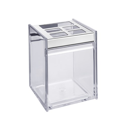 Porta Escova de Dente Transparente em Plástico Quadrata Brinox