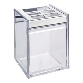 Porta Escova e Creme Dental Brinox Quadrata - 11,5 Cm - Transparente