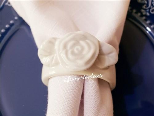 Porta Guardanapo de Porcelana - Flor Branco