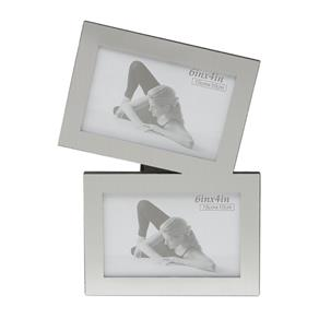 Porta Retrato para 2 Fotos 10x15cm Munic Prestige - Prata