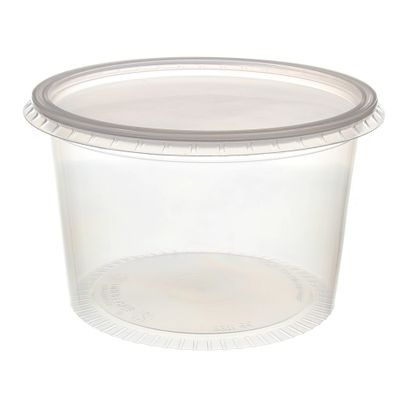 Pote de Plástico Descartável para Alimentos Redondo com Tampa 1000ml com 24 Unidades Prafesta