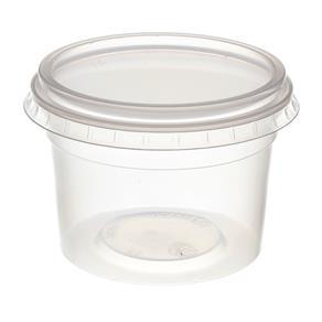 Pote de Plástico Descartável para Alimentos Redondo com Tampa 145ml com 24 Unidades Prafesta