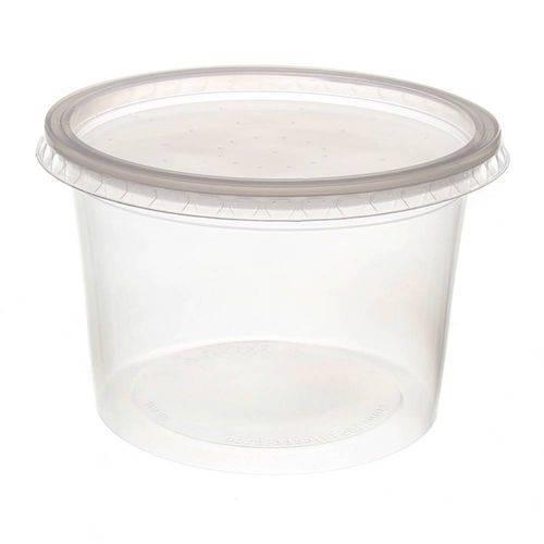 Pote de Plástico Descartável para Alimentos Redondo com Tampa 500ml com 24 Unidades Prafesta
