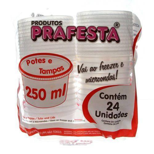 Pote de Plástico Descartável para Alimentos Redondo com Tampa 250ml com 24 Unidades Prafesta