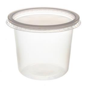 Pote de Plástico Descartável para Alimentos Redondo com Tampa 350ml com 24 Unidades Prafesta
