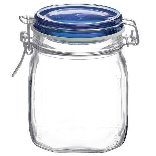 Tudo sobre 'Pote de Vidro Italiano Bormioli Rocco Fido Hermético com Tampa Azul 750ml'