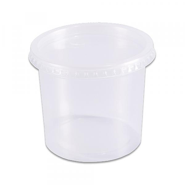 Pote Plástico Descartável Redondo Transparente 350ml C/24 - Prafesta