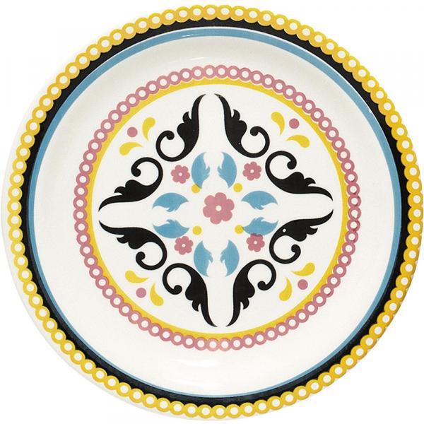Prato de Cerâmica Fundo 23cm Floreal Luiza Oxford