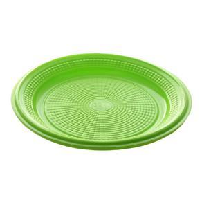 Prato de Plástico Descartável com Ø 15cm Verde com 10 Unidades Trik Trik
