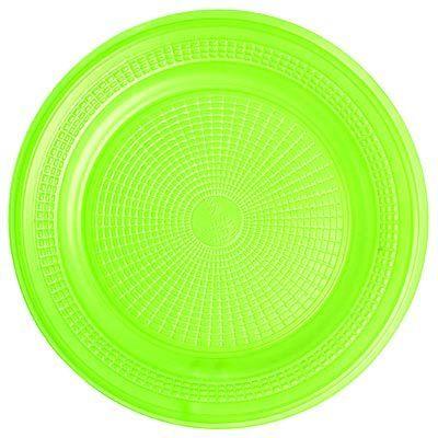 Prato Descartável Sobremesa Color Plástico Verde - 10 Unidades
