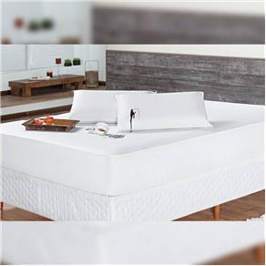 Protetor Colchão Impermeável Casal 01 Peça 1,88m X 1,38m X 25cm - Branco - Branco