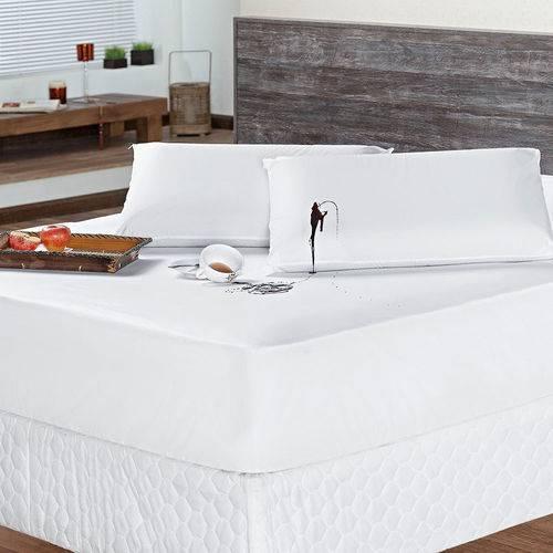 Protetor de Colchão Impermeável Solteiro Tecido Liso Branco