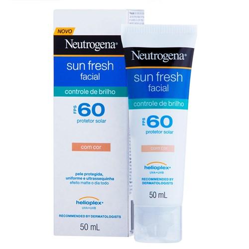 Protetor Solar Facial Neutrogena Sun Fresh com Cor Controle de Brilho Fps 60 50Ml