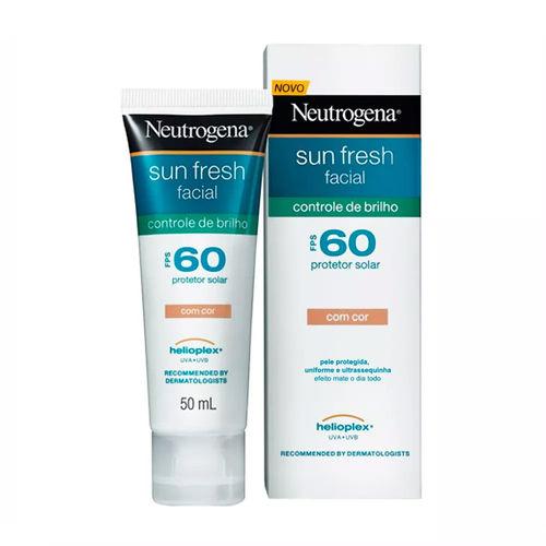 Protetor Solar Facial Neutrogena Sun Fresh Controle de Brilho Fps 60 Gel Creme com Cor 50ml
