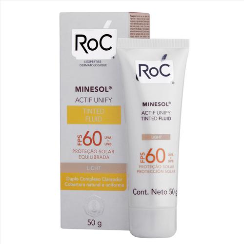 Protetor Solar Facial Roc Minesol Actif Unify Tinted Fluid Light FPS60 50g