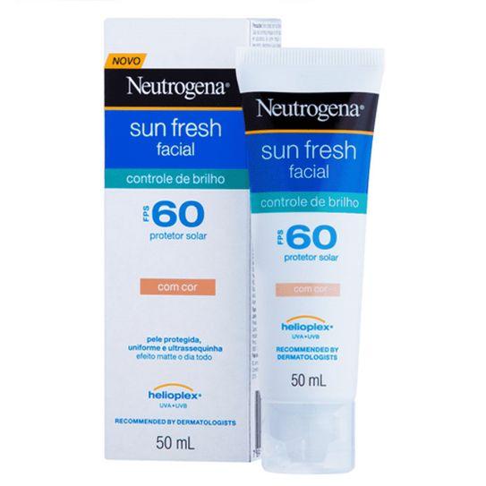 Protetor Solar Neutrogena Sun Fresh Controle de Brilho com Cor Fps 60 50g
