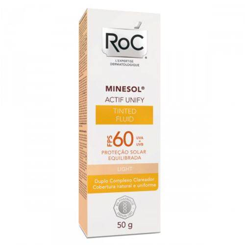 Protetor Solar Roc Minesol Actif Unify Fluid Light PFS60 50g