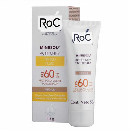 Protetor Solar Roc Minesol Actif Unify Tinted Fluid Medium Fps 60 50g