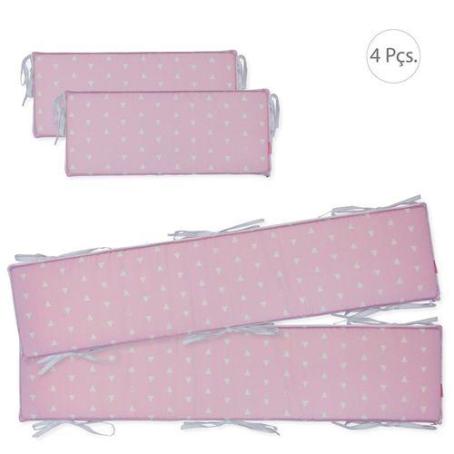 Protetores de Berço Triângulos Rosa Claro