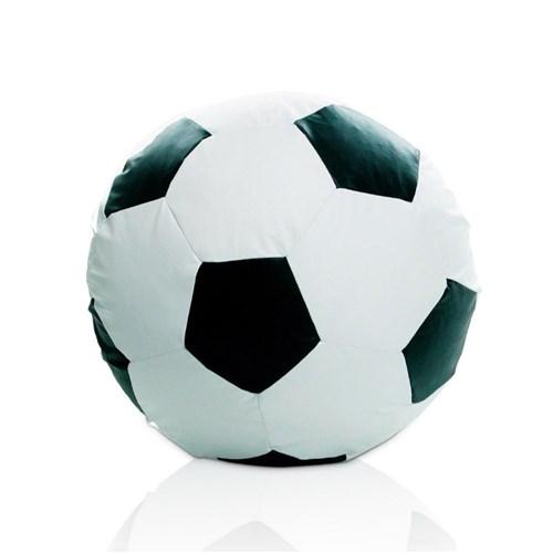 Puff Bola de Futebol Grande - Branco/ Preto