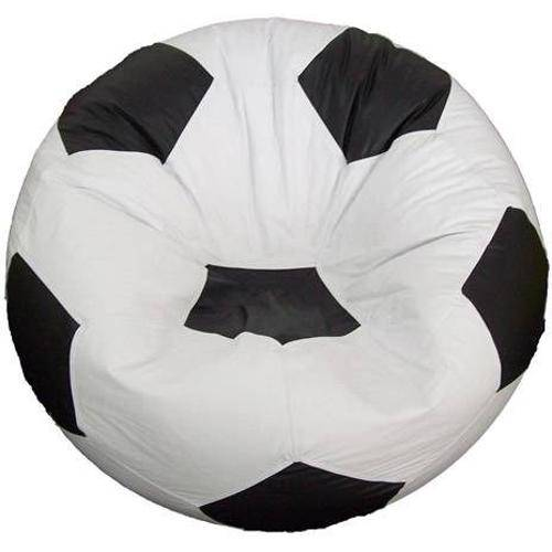Puff Bola Futebol Cheio - Branco e Preto