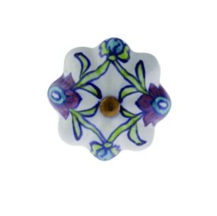Puxador Indiano de Cerâmica com Pintura de Flores- Amecasa